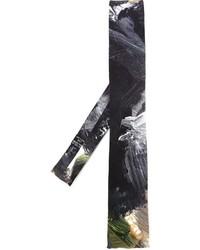 Yohji Yamamoto Brush Stroke Print Squared Tie