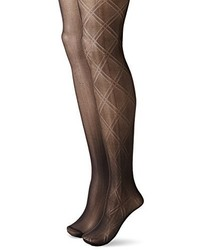 Betsey Johnson Fashion Tights In Double Diamond Pattern And Solid Black