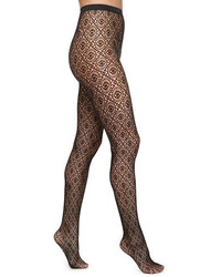 Wolford Daphne Medallion Pattern Sheer Tights