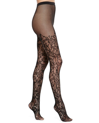 bb20383a3b876 Wolford Nahla Floral Tights Black, $65   Neiman Marcus   Lookastic.com