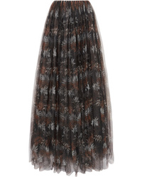 Brunello Cucinelli Pleated Printed Tulle Maxi Skirt