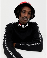 Fila Black Line Drey Logo Turtle Neck Sweatshirt With Taping In Black