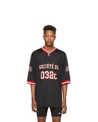032c Black Puff Print Football Jersey T Shirt