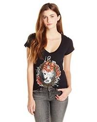 Metal Mulisha Juniors Webbed V Neck Graphic T Shirt