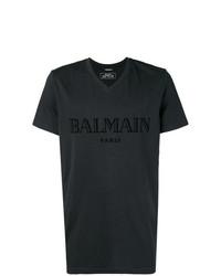 Balmain V Neck Logo T Shirt