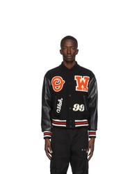 Off-White Black And Orange Varsity Bomber Jacket