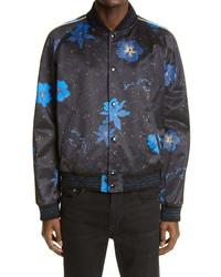 Saint Laurent Hibiscus Print Raglan Bomber Jacket