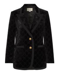 Gucci Med Metallic Velvet Jacquard Blazer