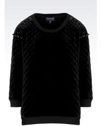 Giorgio Armani Velvet Sweater With Fleece Details