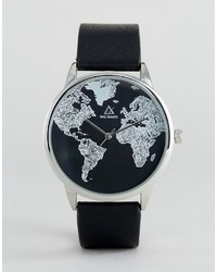 Asos Monochrome Watch With Map Print Design