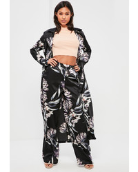 Missguided Black Floral Printed Wide Leg Satin Trousers