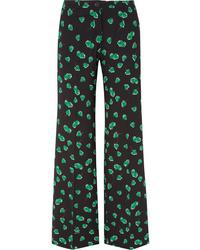 Miu Miu Printed Crepe Wide Leg Pants