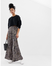 ASOS DESIGN Wide Leg Trouser In Abstract Animal Print