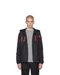 Valentino Black And Red Logo Zip Jacket