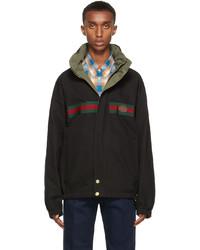 Gucci Black Khaki Gg Jacket