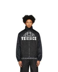 Versace Black Nylon Medusa Windbreaker Jacket