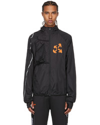 Off-White Black Orange Active Logo Zip Up Running Jacket