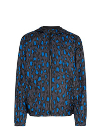 Kenzo Blue Black And White Leopard Print Reversible Windbreaker