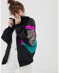 Pull&Bear Wind Breaker In Leopard Print Colour Block