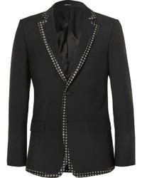 Alexander McQueen Black Print Trimmed Wool And Mohair Blend Blazer