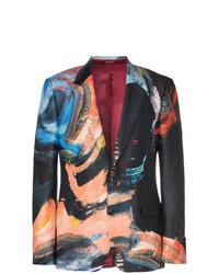 Alexander McQueen Painters Canvas Print Single Breasted Wool Blazer