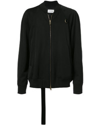Black Print Wool Bomber Jacket