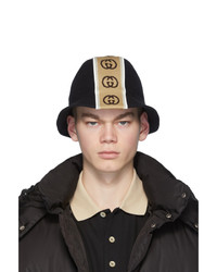 Gucci Black Logo Stripe Bucket Hat