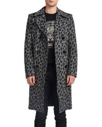 Saint Laurent Slim Fit Leopard Print Coat