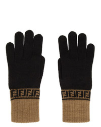 Fendi Brown And Black Forever Gloves