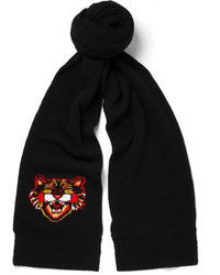 Gucci Angry Cat Intarsia Wool Scarf