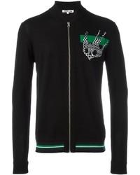 Black Print Zip Sweater