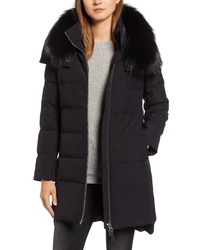 Derek Lam 10 Crosby Allover Stretch Down Coat With Genuine Fox