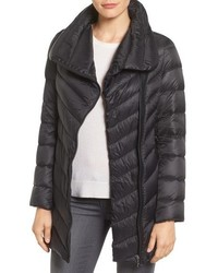 Asymmetrical chevron quilted down coat medium 844806