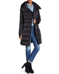 Vera Wang Asymmetrical Zip Down Puffer Coat
