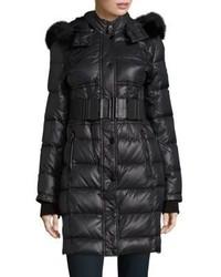 Belted Fox Fur Trimmed Puffer Coat