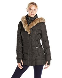 Betsey Johnson Mid Length Puffer Coat With Faux Fur Hood