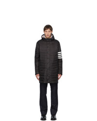 Thom Browne Black Down 4 Bar Quilted Hooded Coat