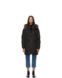 Yves Salomon Army Black Down And Fur Doudoune Jacket