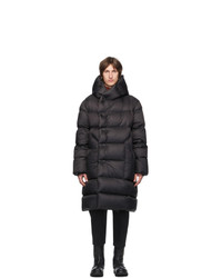 Rick Owens Black Down Hooded Liner Coat