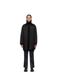 Prada Black Down Nylon Gabardine Coat