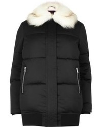 River Island Black Puffer Coat With Faux Fur Trim