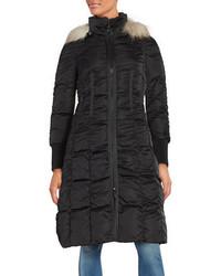 Tahari Elizabeth Faux Fur Trimmed Long Puffer Coat