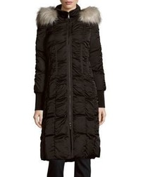 T Tahari Elizabeth Faux Fur Trimmed Long Puffer Coat