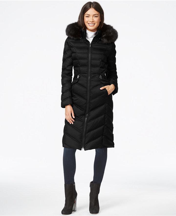 0dd23354e0 ... Black Puffer Coats Laundry by Shelli Segal Faux Fur Hood Long Down  Puffer Coat ...