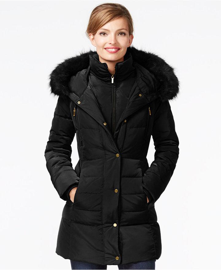 2ec4dde14 $245, Jones New York Faux Fur Trim Down Coat