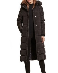Lauren Ralph Lauren Faux Fur Trim Hooded Down Feather Fill Maxi Coat