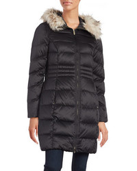 Eliza J Faux Fur Trim Puffer Coat