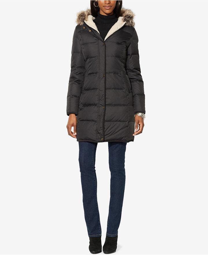 3fbe820107a5 ... Lauren Ralph Lauren Faux Fur Trim Quilted Puffer Coat Only At Macys ...