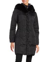 Tahari Faux Fur Trimmed Hooded Puffer Coat