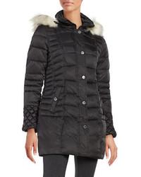 Betsey Johnson Faux Fur Trimmed Puffer Coat